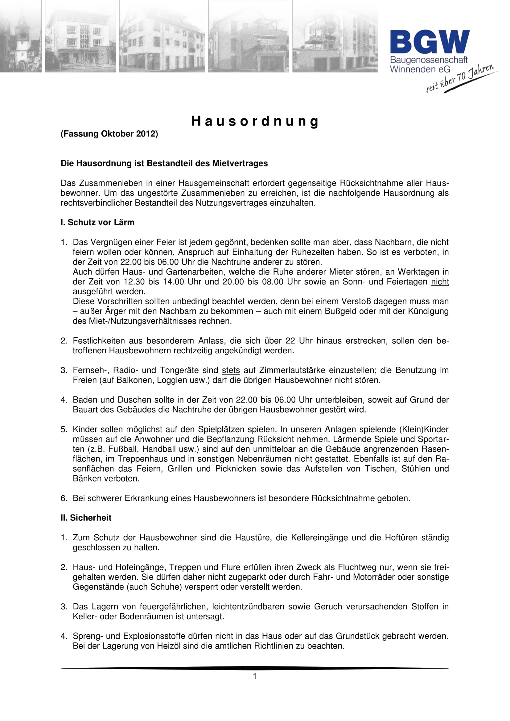 Hausordnung BGW Deckblatt 1 - Häufige Fragen