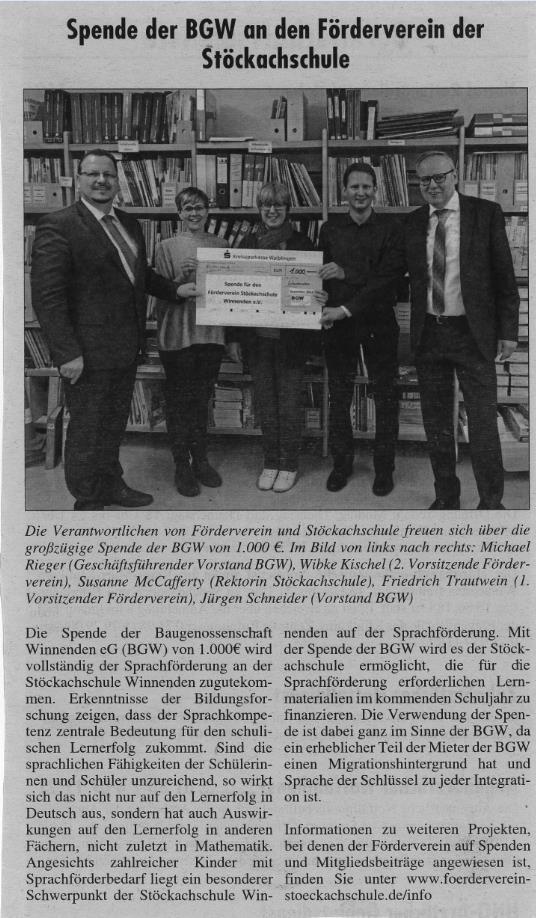 Zeitungsartikel Spende der BGW - Spende der BGW an der Förderverein der Stöckachschuhle